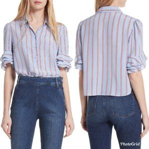 Frame Denim Ruffle Sleeve Blue Stripe Blouse XS